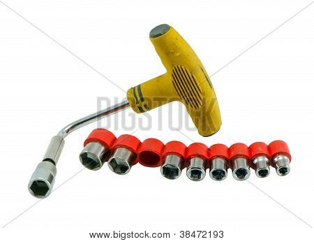 Tool Kit Wrench Spanner Tommy Isolated On White