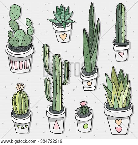 Vector Seamless Pattern With Hand Drawn Cactus In White Pot. Indoor Plants. Green Nature.