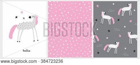 Funny Hand Drawn Vector Illustration With Light Gray Horse With Pink Tail And Mane Isolated On A Whi
