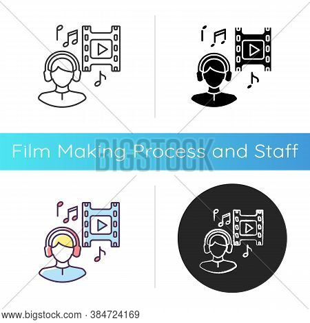 Music Supervisor Icon. Producer For Audio Making. Listen To Song In Headset. Composer For Movie Soun