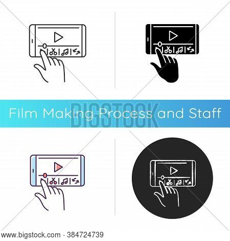 Smartphone Film Making Icon. Edit Video With Electronic Device. Creative Process On Mobile Phone. So