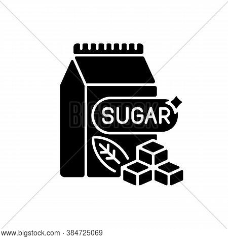 Sugars Black Glyph Icon. Crystal Cubes. Refined Powder In Packaging. Supermarket Product. Condiment