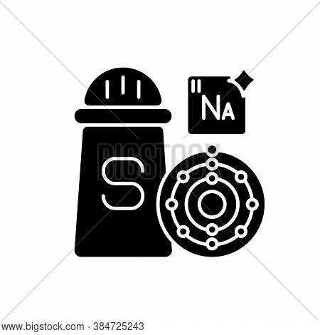 Sodium Black Glyph Icon. Condiment For Food. Salt In Package. Molecular Structure. Chemistry For Foo