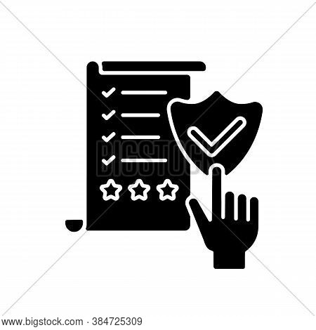Regulatory Compliance Black Glyph Icon. Legal Policy. Verification With Business Document. Approved