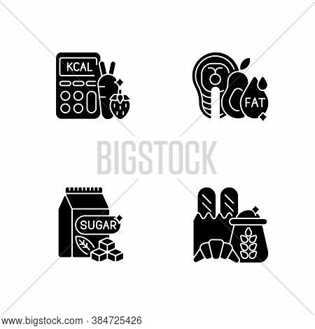 Food For Weight Loss Black Glyph Icons Set On White Space. Good Fats. Count Calorie For Dietary. Sug