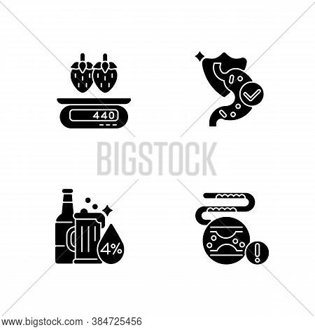 Foodstuff Black Glyph Icons Set On White Space. Cholesterol In Blood Disease. Serving Information. S