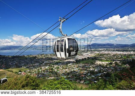 Rotorua / New Zealand - 17 Dec 2018: The Cable Way In Rotorua, New Zealand
