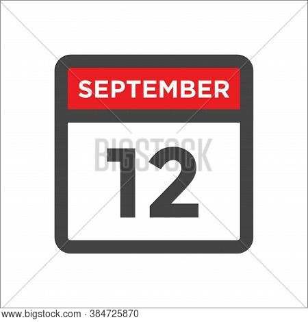 September 12 Calendar Icon With Day & Month Calendar Date