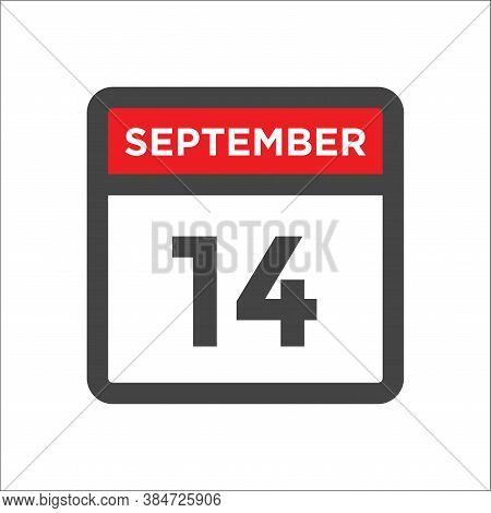September 14 Calendar Icon With Day & Month Calendar Date