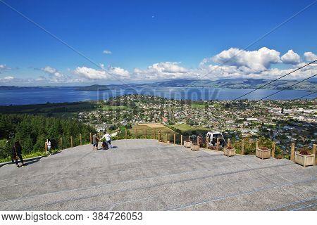 Rotorua / New Zealand - 17 Dec 2018: The View On City Of Rotorua, New Zealand