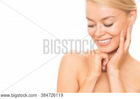 Close Up Of A Happy Young Beautiful Woman Laughing Happily Looking Away Playfully Posing Sensually W