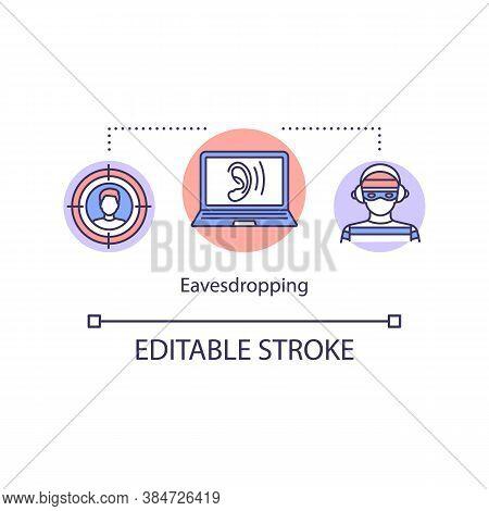 Eavesdropping Digital Interception Concept Icon. Theft Personal Information Idea Thin Line Illustrat
