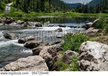Rapids Near The Old Spearfish Creek Dam In The Black Hills National Forest Of South Dakota. Focus On