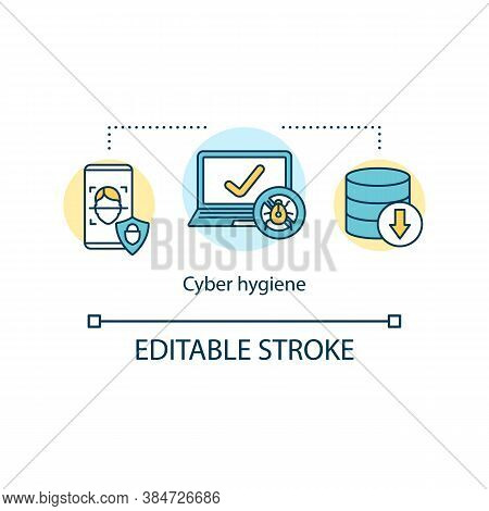 Cybersecurity Hygiene Concept Icon. Healthcare Industry And Health Informatic. Improve Online Securi