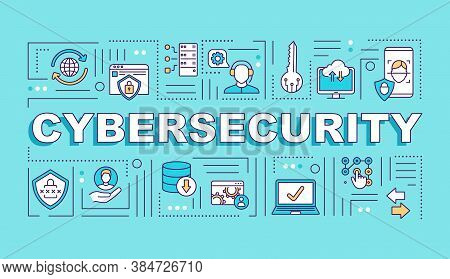 Cyber Security System Word Concepts Banner. Framework Internet Protection. Infographics With Linear