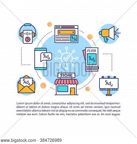 Advertising Campaign Concept Icon With Text. Multichannel Marketing Strategy. Ppt Page Vector Templa