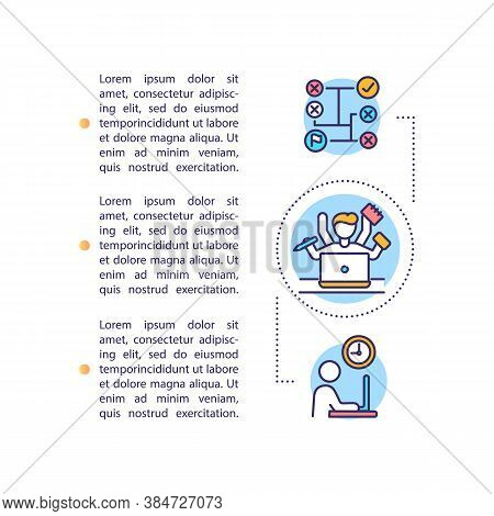 Content Planning For Social Media Concept Icon With Text. Multitasking. Ppt Page Vector Template. Ti