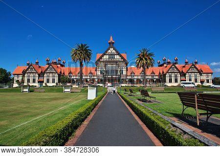 Rotorua / New Zealand - 17 Dec 2018: The Museum In The Gardens Of Rotorua, New Zealand