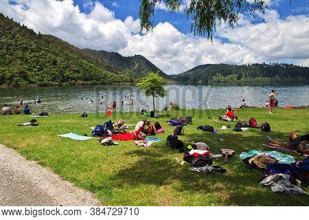 Rotorua / New Zealand - 17 Dec 2018: Lakes In The Forest, Rotorua, New Zealand