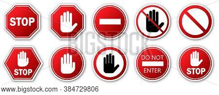 Stop Signs Set. Red Stop Sign With Shadow. Vector Illustration. Warning Signs Isolated