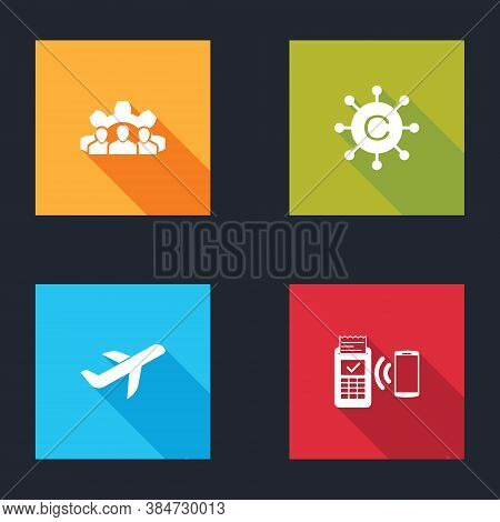 Set Project Team Base, Copywriting Network, Plane And Pos Terminal Icon. Vector