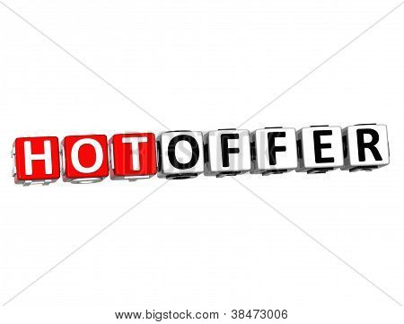 3D Hot Offer Button Click Here Block Text