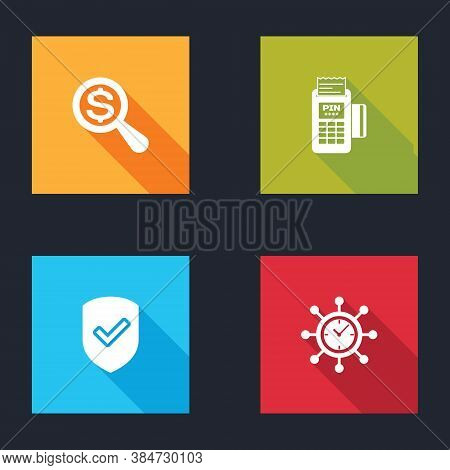 Set Magnifying Glass And Dollar, Pos Terminal, Shield With Check Mark And Clock Gear Icon. Vector