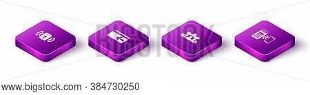 Set Isometric Voice Assistant, Cash Back, Project Team Base And Pos Terminal Icon. Vector