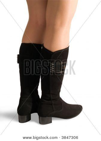 Woman Legs In Black  High Shoe