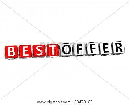 3D Best Offer Button Click Here Block Text