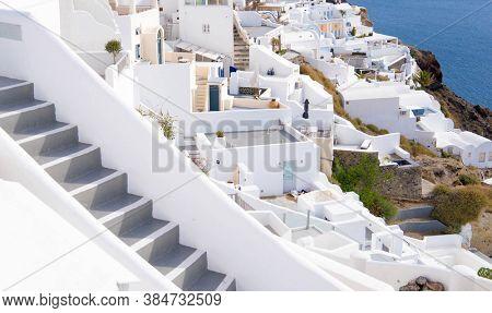 Oia village, view of Ia town, Santorini island, Greece