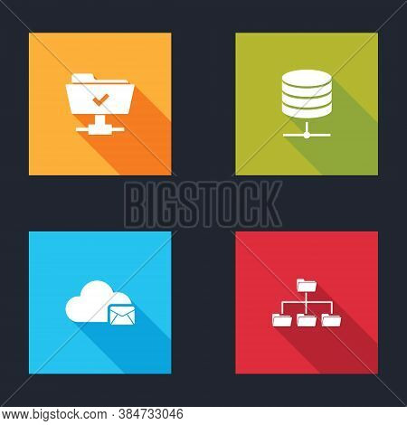Set Ftp Operation Successful, Server, Data, Web Hosting, Cloud Mail Server And Folder Tree Icon. Vec