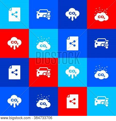 Set Share File, Car Sharing, Co2 Emissions Cloud And Icon. Vector