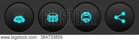 Set Co2 Emissions In Cloud, Car Sharing, And Share Icon. Vector