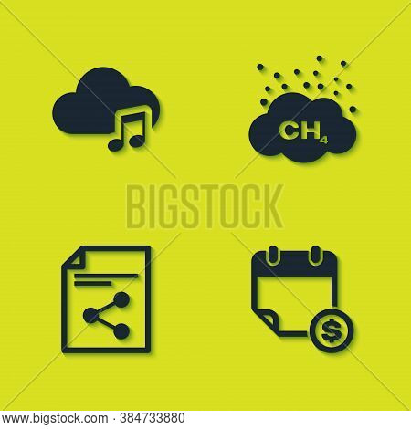 Set Music Streaming Service, Financial Calendar, Share File And Methane Emissions Reduction Icon. Ve