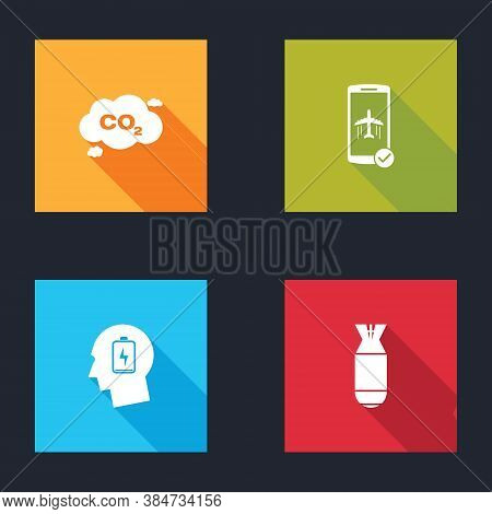 Set Co2 Emissions In Cloud, Flight Mode The Mobile, Head With Low Battery And Aviation Bomb Icon. Ve