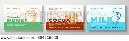 Hone, Cocoa Beans And Milk Food Label Templates Set. Abstract Vector Packaging Design Layouts Bundle