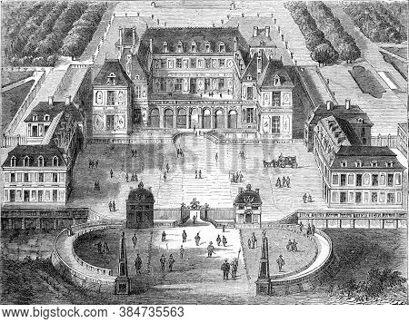 Versailles under Louis XIII, Vintage engraving. From Popular France, 1869.