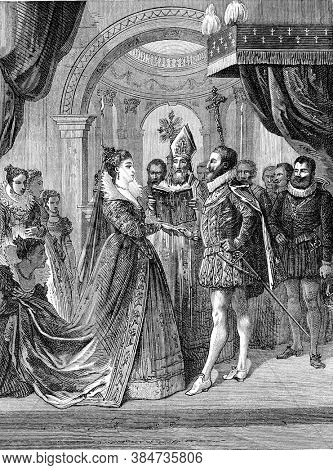 Marriage of Henri IV and Marie de Medici, Vintage engraving. From Popular France, 1869.