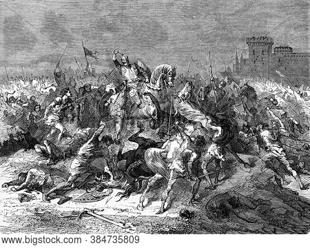 The peasants of the commune of Laonnois fighting against the nobles, Vintage engraving. From Popular France, 1869.