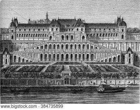 Former castle of Saint-Germain, Vintage engraving. From Popular France, 1869.