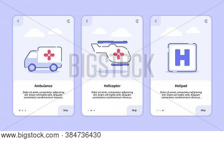 Medical Icon Ambulance Helicopter Helipad Onboarding Screen For Mobile Apps Template Banner Page Ui
