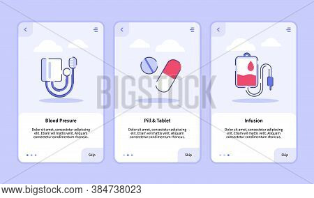 Medical Icon Blood Pressure Pill Tablet Infusion Onboarding Screen For Mobile Apps Template Banner P