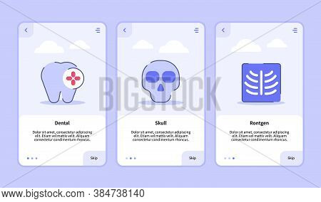 Medical Icon Dental Skull Rontgen Onboarding Screen For Mobile Apps Template Banner Page Ui With Thr