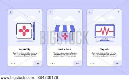 Medical Icon Hospital Sign Medical Store Diagnosis Onboarding Screen For Mobile Apps Template Banner