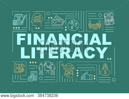 Financial Literacy Word Concepts Banner. Graphics, Chart, Compound Interest. Infographics With Linea