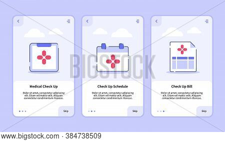 Medical Icon Medical Check Up Check Up Schedule Check Up Bill Onboarding Screen For Mobile Apps Temp