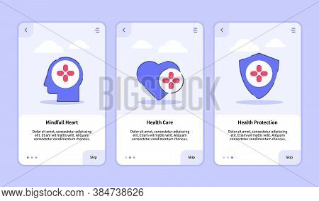 Mindful Health Heart Care Health Protection Onboarding Screen For Mobile Apps Template Banner Page U