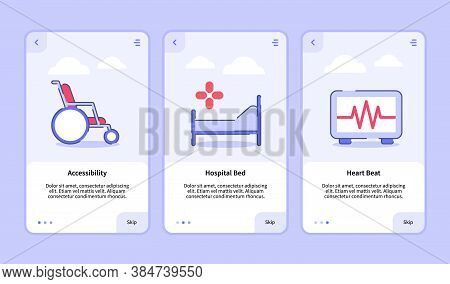 Medical Icon Accessibility Hospital Bed Heart Beat Onboarding Screen For Mobile Apps Template Banner