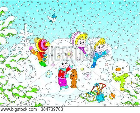 Small Children Playing In Their Toy Snow Fortress On A Playground In A Winter Snow-covered Park, Vec
